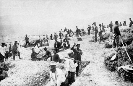 Bulgarian 9th (Pleven) Division digging trenches on Petit Couronné at Doiran