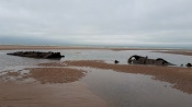 A First World War relic - the wreck of a German U-Boat is uncovered on French beach