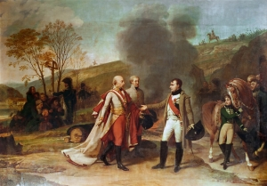 Napoleon and Francis meet after the Battle of Austerlitz