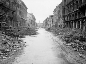 A devastated street in the city centre, July 1945