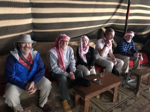 Enjoying tea in a Bedouin tent