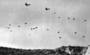 German paratroopers jumping From Ju 52s over Crete
