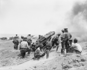 A British 60 pounder battery in action at Cape Helles